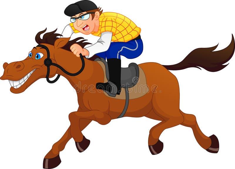 Het rennen paard met jockey stock illustratie