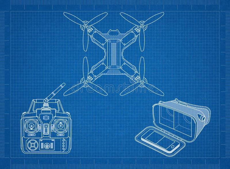 Het rennen quadcopter royalty-vrije illustratie