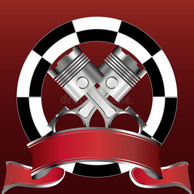 Het rennen van embleem met zuiger en rode banner vector illustratie