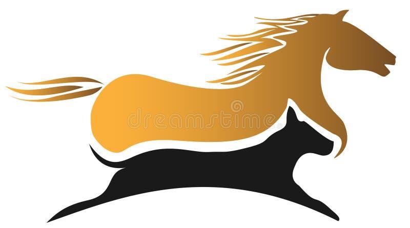 Het rennen van het paard en van de hond royalty-vrije illustratie