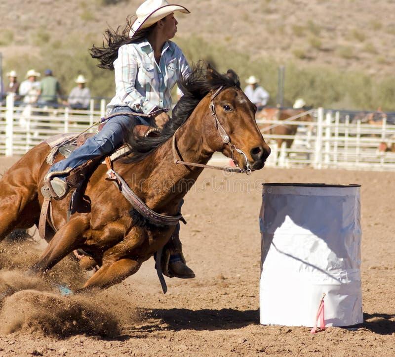 Het Rennen van het Vat van de rodeo royalty-vrije stock foto's