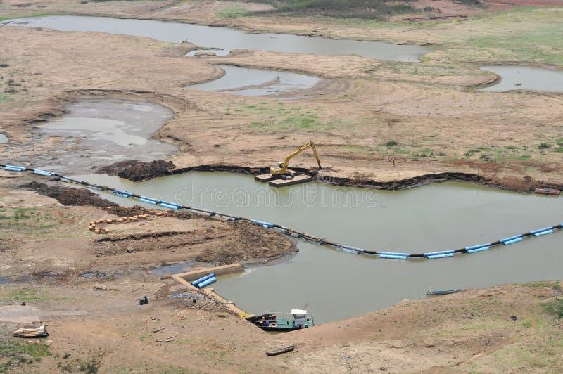 Het reservoir droogt in wonogiri stock foto