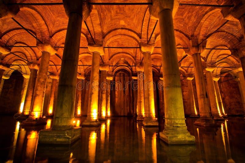 Het reservoir van de basiliek in Istanboel, Turkije royalty-vrije stock fotografie