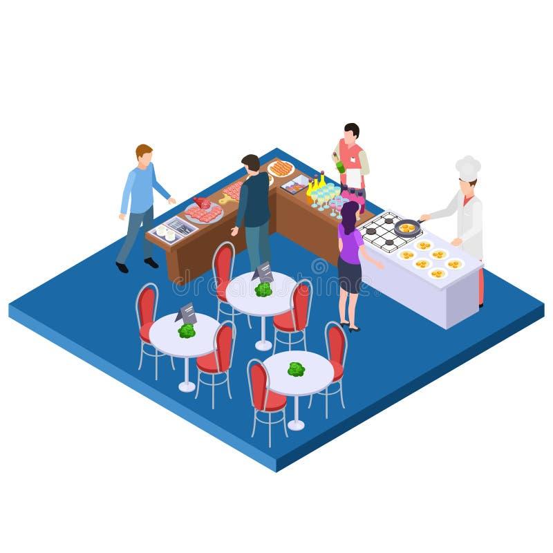 Het restaurant 3d isometrisch vectorconcept van het buffetontbijt vector illustratie