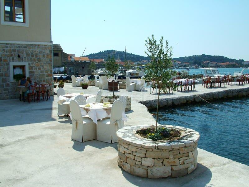 Havenrestaurant royalty-vrije stock afbeelding