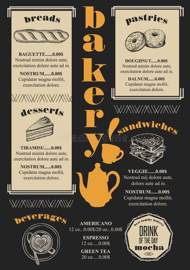 Het restaurant van de menubakkerij, voedselmalplaatje placemat stock illustratie