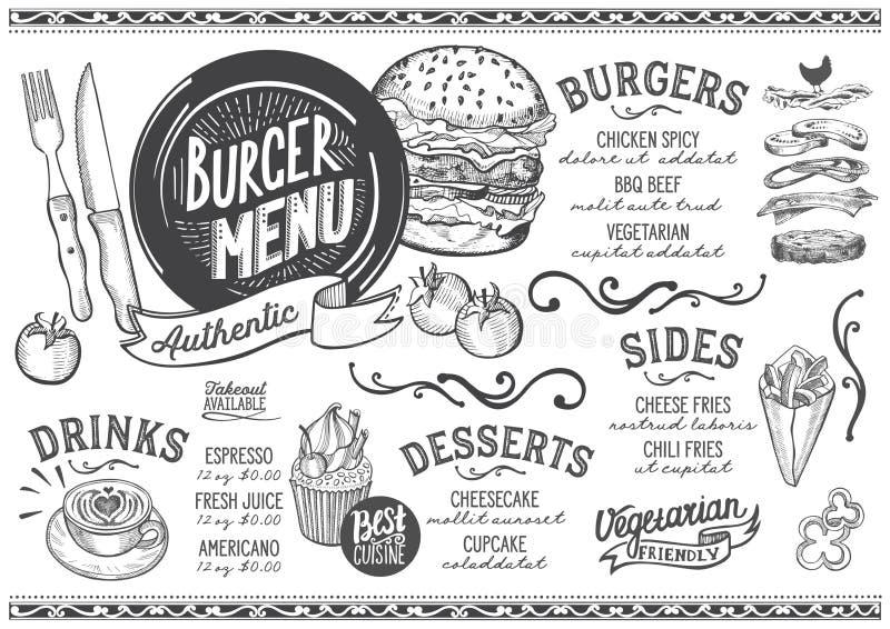 Het restaurant van het hamburgermenu, voedselmalplaatje royalty-vrije illustratie