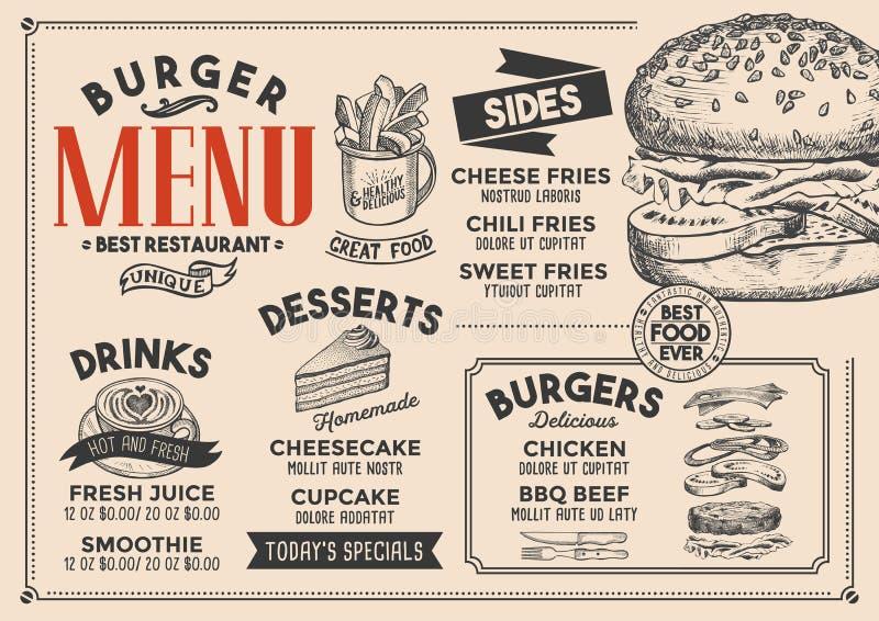 Het restaurant van het hamburgermenu, voedselmalplaatje stock illustratie
