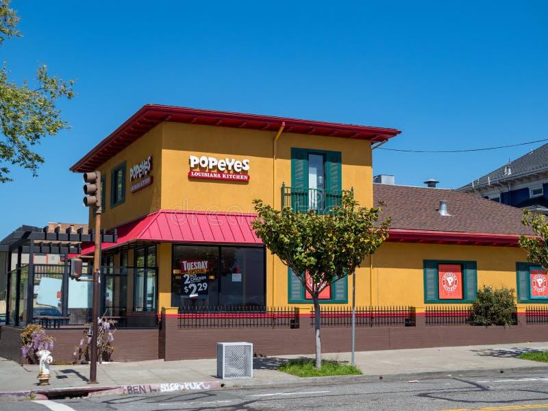 Het restaurant van het Popeyes snelle voedsel in Berkeley, Californië stock fotografie