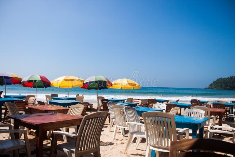 Het restaurant van Sri Lanka op de vakantie van strandmirissa royalty-vrije stock foto's