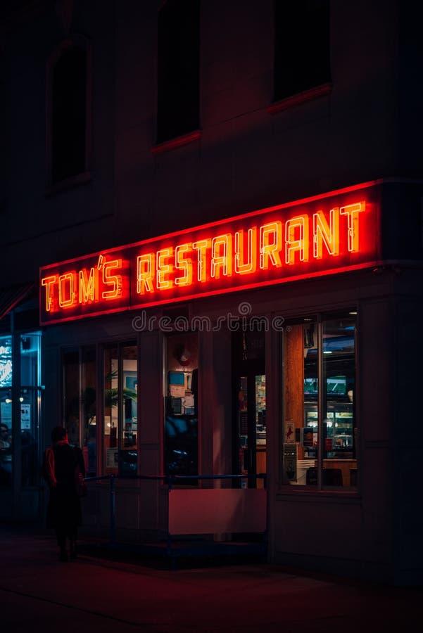 Het Restaurant van Tom bij nacht, in Morningside-Hoogten, de Stad van Manhattan, New York royalty-vrije stock afbeelding