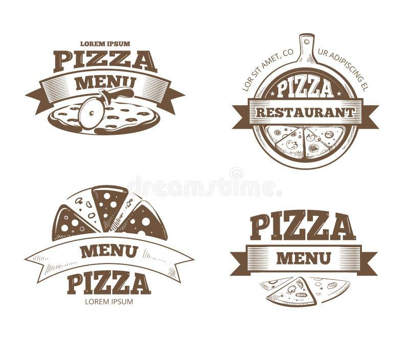 Het restaurant vectoretiketten van het pizzamenu, emblemen, kentekens, geplaatste emblemen vector illustratie