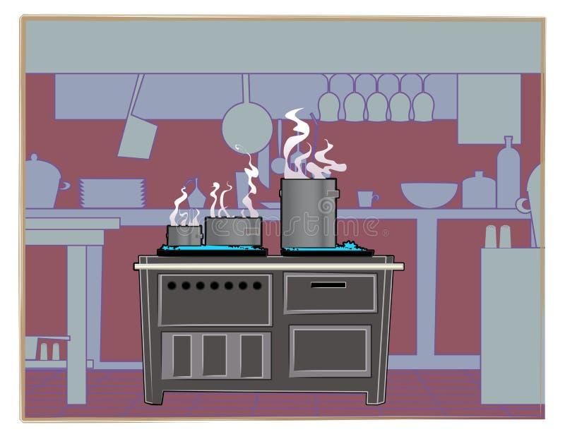 Het restaurantachtergrond van de keuken stock afbeelding