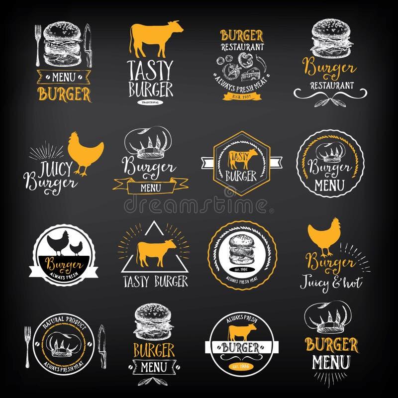 Het restaurantkentekens van het hamburgermenu Het malplaatje van het snel voedselontwerp vector illustratie