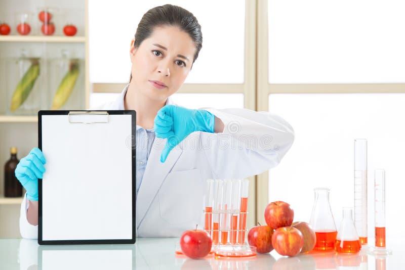 Het resultaat van de genetische modificatietest is slecht royalty-vrije stock foto's