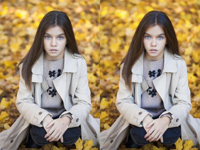 Before and after het retoucheren in fotoredacteur - jong meisje stock afbeeldingen