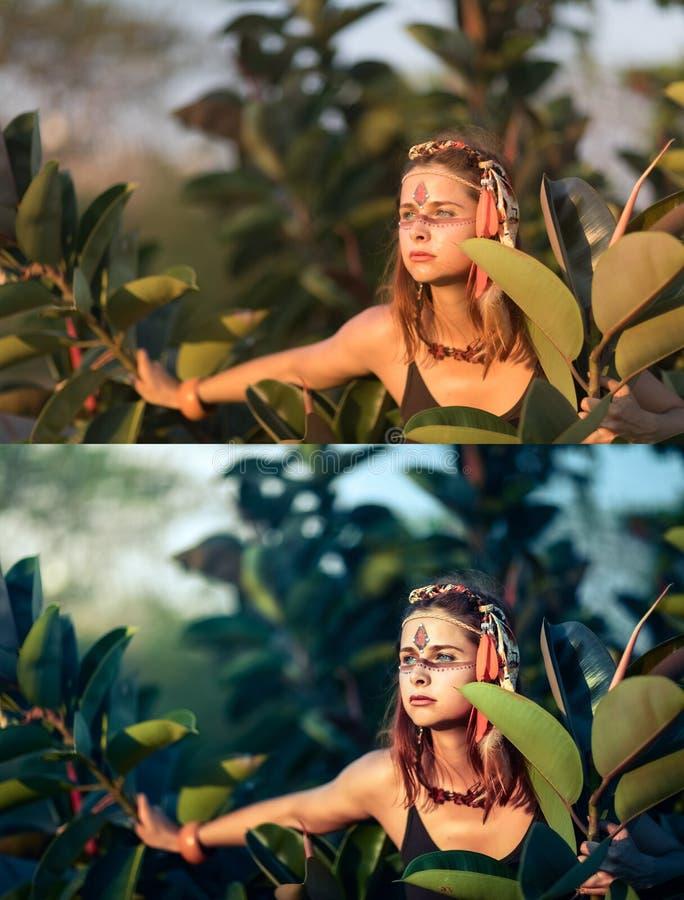 Before and after het retoucheren van collage royalty-vrije stock foto's