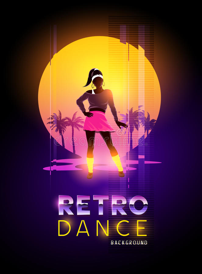 Het Retro dansen van 1980 ` s royalty-vrije illustratie