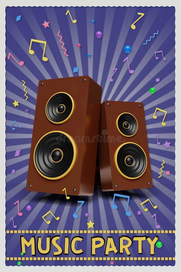 Het Retro de afficheontwerp van de muziekpartij 3d teruggeven stock illustratie