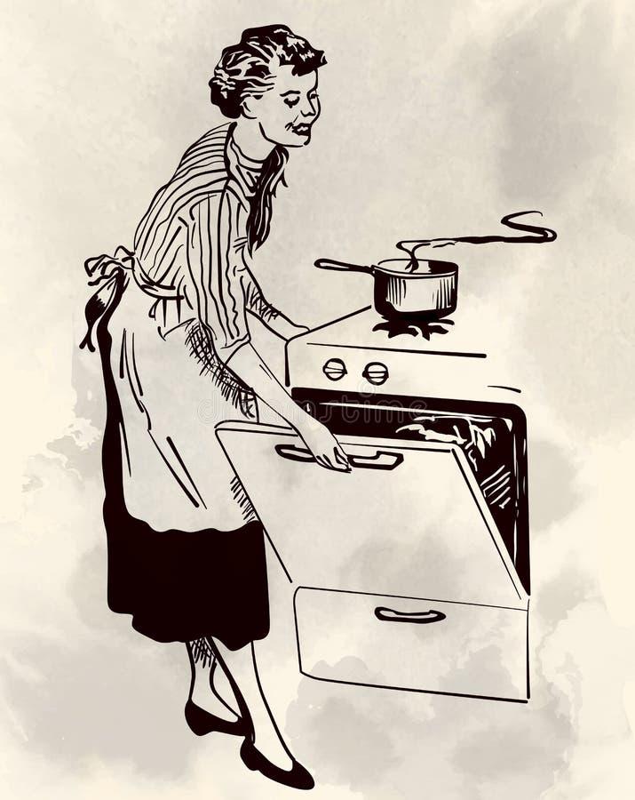 Het Retro huisvrouw koken in haar keuken vectorbeeld vector illustratie