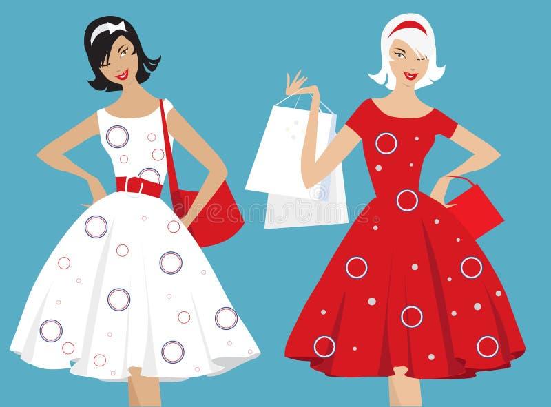 Het Retro meisjes winkelen royalty-vrije illustratie