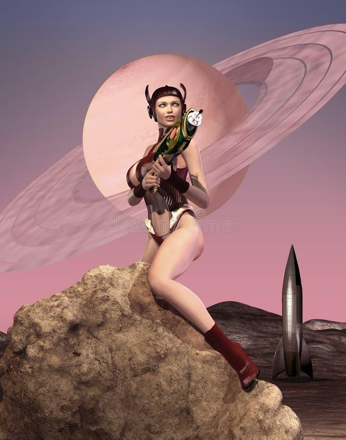 Het Retro speld omhoog model berijden in gevaarlijk sexy stijl op oorlogsraket vector illustratie