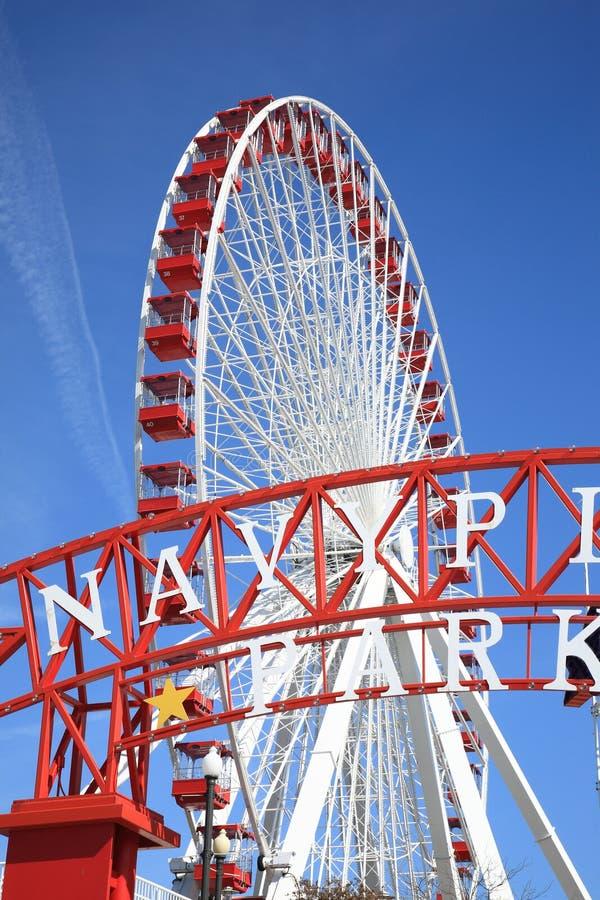 Het Reuzenrad van de Pijler van de Marine van Chicago royalty-vrije stock foto's