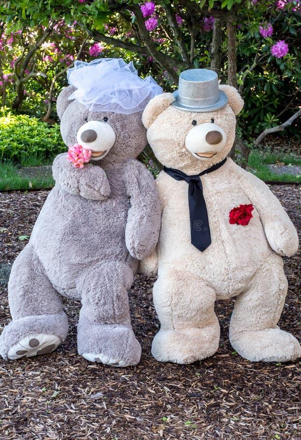 Het reuzepaar van het teddybeerhuwelijk royalty-vrije stock afbeeldingen
