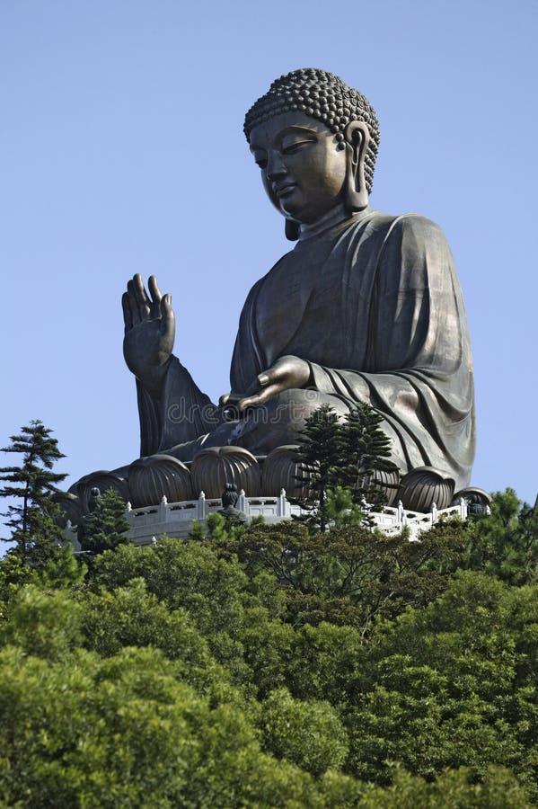 Het reuzestandbeeld van Boedha in Hongkong stock afbeelding
