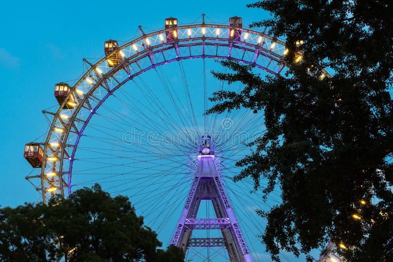 Het Reuzewiel van Wenen bij Nacht royalty-vrije stock foto's