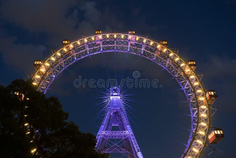 Het Reuzewiel van Wenen bij Nacht royalty-vrije stock afbeeldingen
