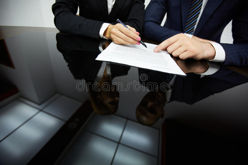Het richten op contract royalty-vrije stock afbeelding