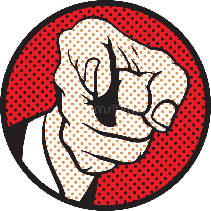Het richten van de hand (pop-artstijl) vector illustratie