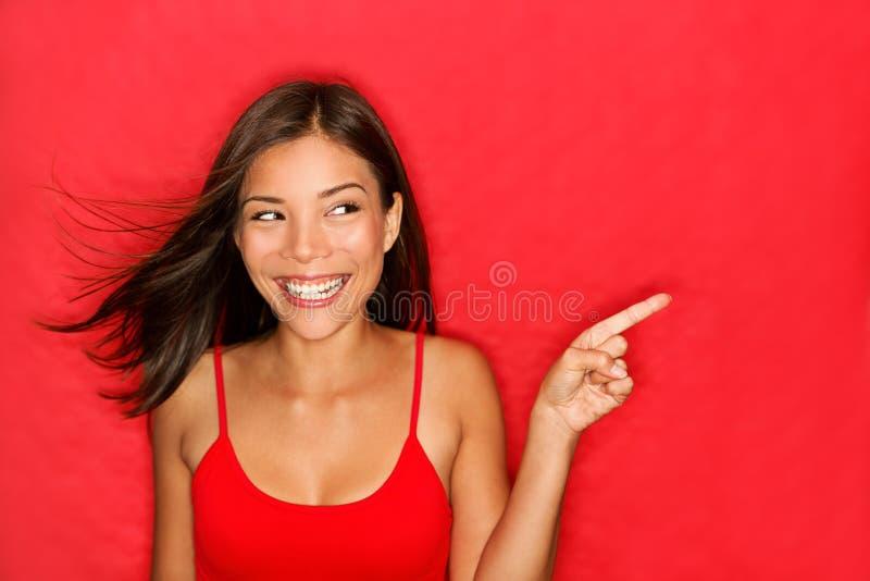 Het richten van de vrouw stock afbeeldingen
