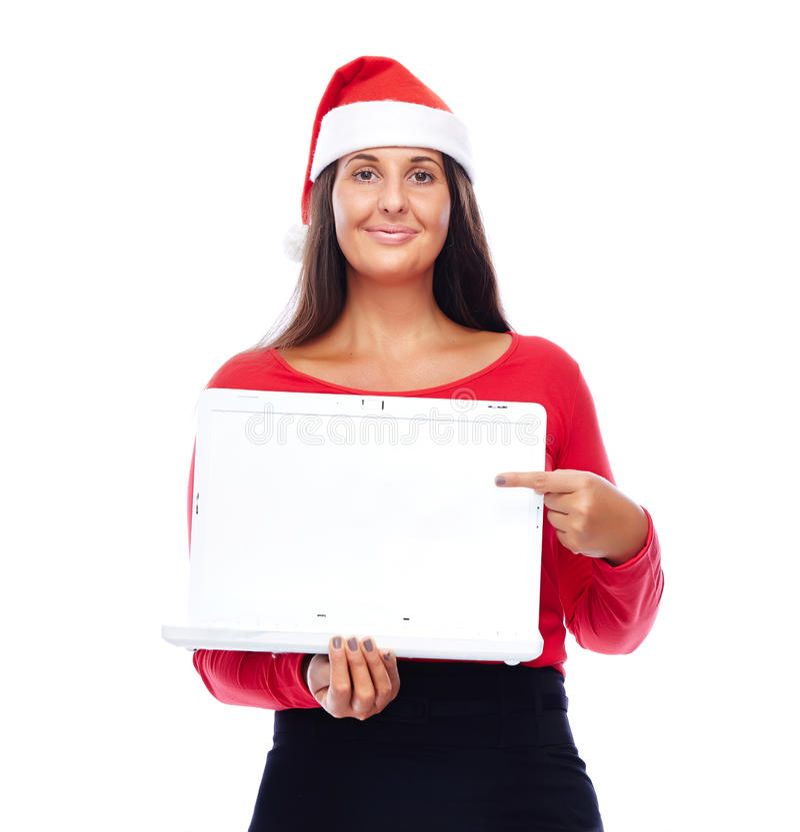 Het richten van het meisjeslaptop van de Kerstmiskerstman stock afbeelding