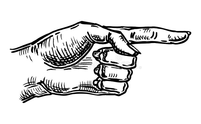 Het richten van vinger Handteken voor Web, affiche, grafische informatie stock illustratie
