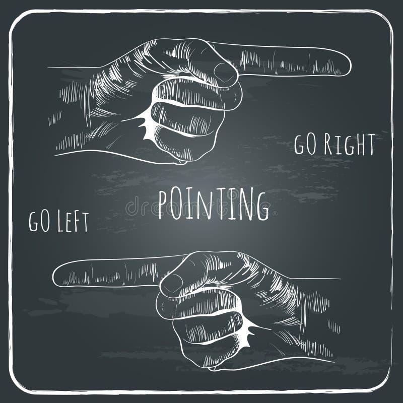 Het richten van vinger in oude uitstekende stijl op bord royalty-vrije illustratie