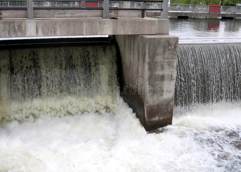 Het Rideaukanaal Smiths valt waterlossing van de dam 2008 stock afbeeldingen