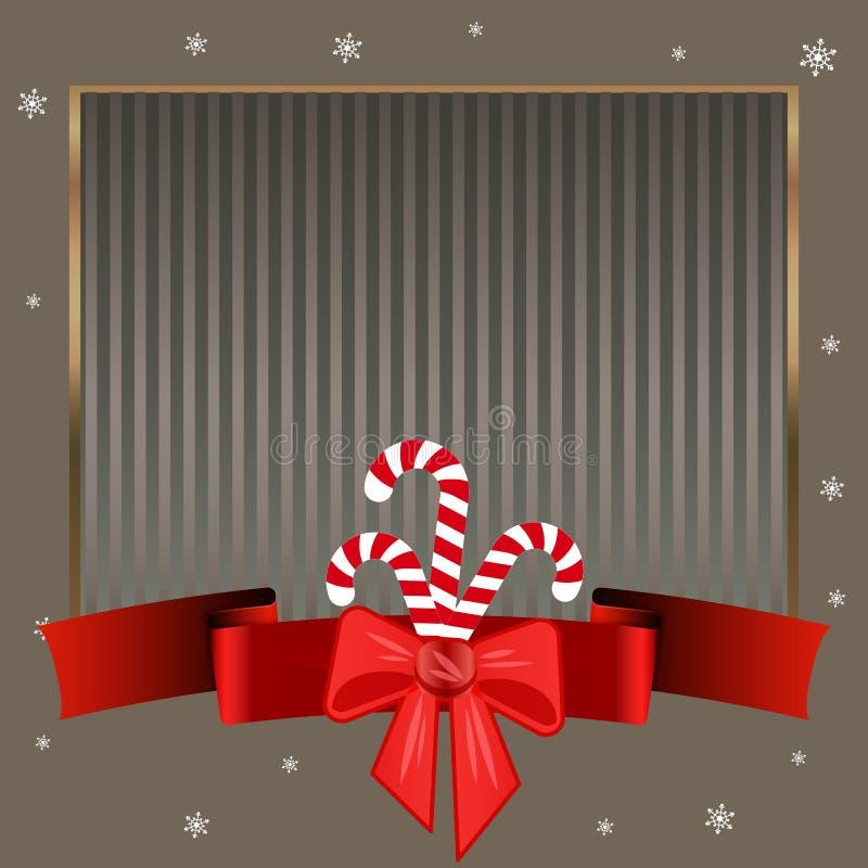 Het Riet van het Kerstmissuikergoed Elegante strikte zilveren achtergrond met gouden kader voor tekst op de winterthema royalty-vrije illustratie