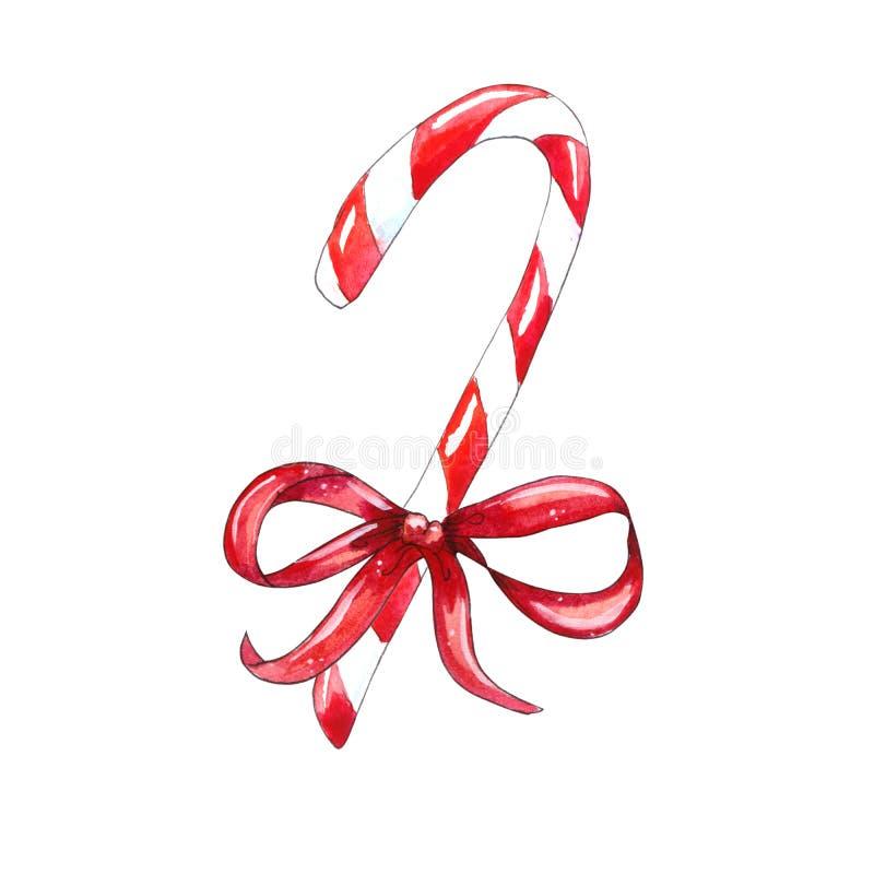 Het Riet van het Kerstmissuikergoed met Rode Boog royalty-vrije illustratie