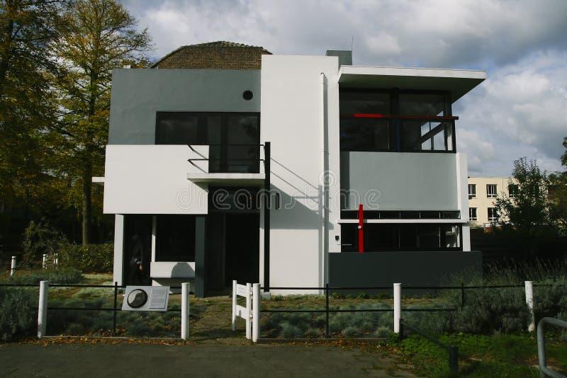 Het Rietveld-huis in Utrecht stock afbeeldingen