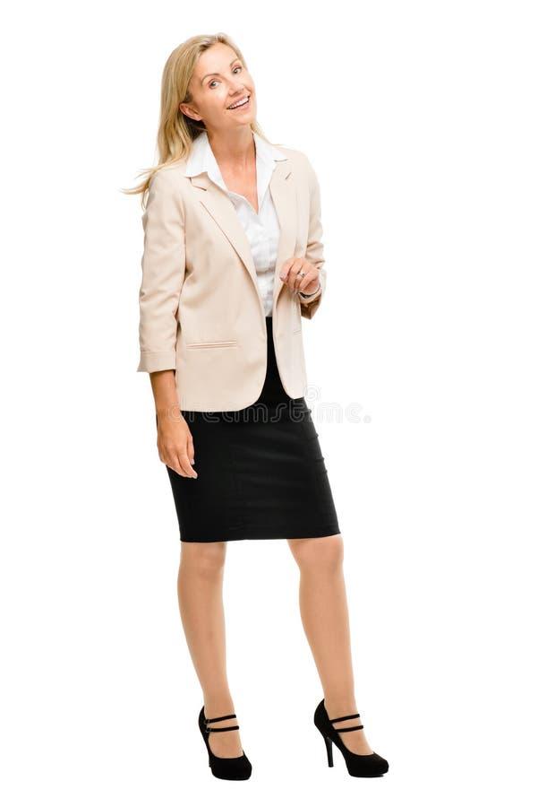 Het rijpe vrouw glimlachen geïsoleerd op witte achtergrond royalty-vrije stock foto's