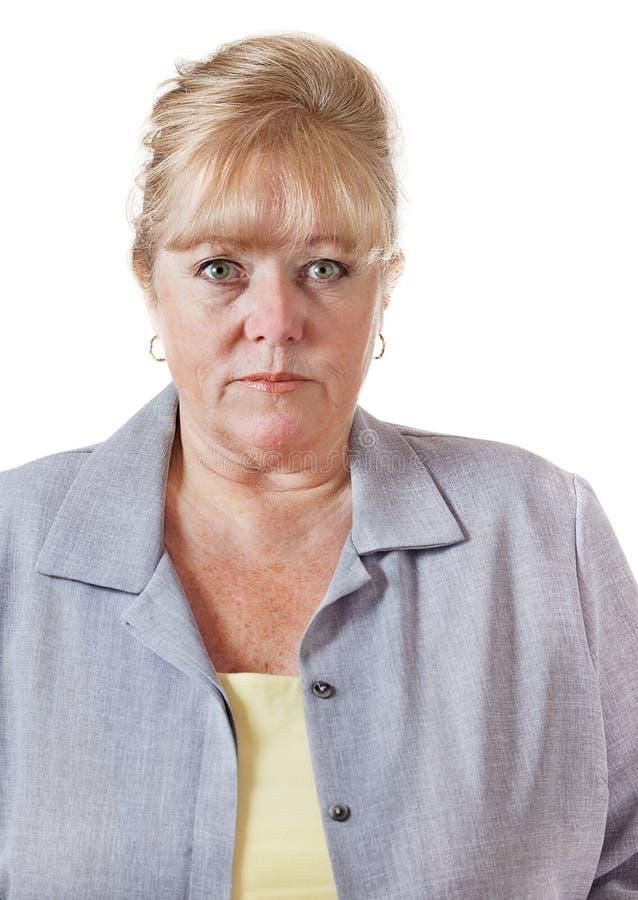 Het rijpe vrouw staren royalty-vrije stock afbeelding