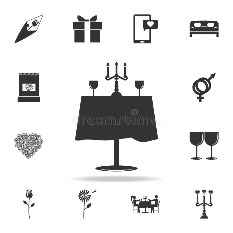 het rimantic pictogram van de restaurantlijst Gedetailleerde reeks tekens en elementen van liefdepictogrammen Het grafische ontwe vector illustratie