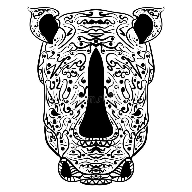 Het rinoceroshoofd zentangle stileerde vectorillustratie vector illustratie
