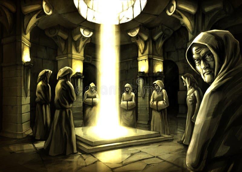 Het ritueel van de mysticus (roosterkunstwerk door Oleksiy Tsuper) royalty-vrije stock foto's