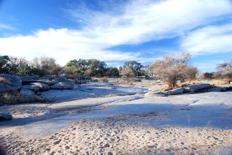 Het rivierbed van Okonjou stock foto