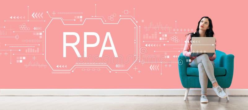 Het robotachtige concept van de procesautomatisering met vrouw die laptop met behulp van stock afbeeldingen