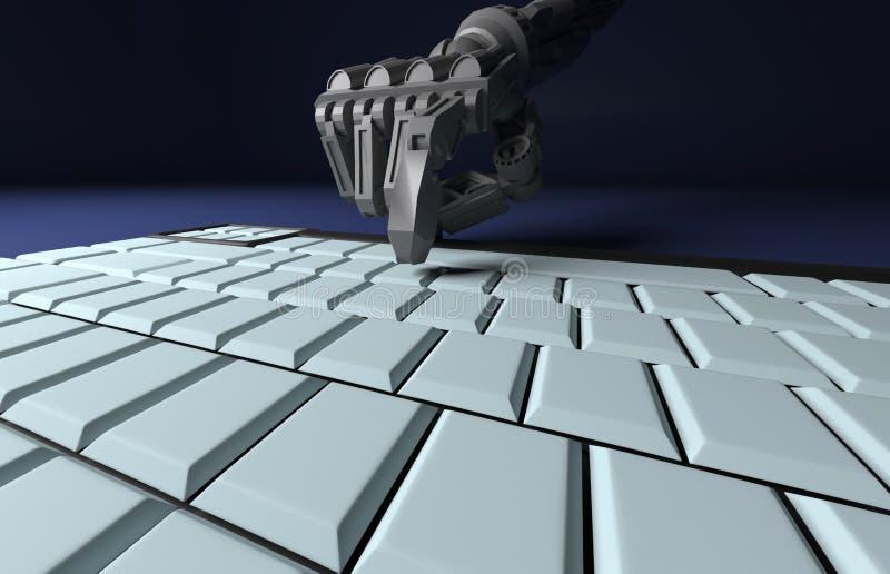 Het robotachtige Hand Drukken gaat Sleutel op Toetsenbord in het 3d teruggeven Worki stock illustratie
