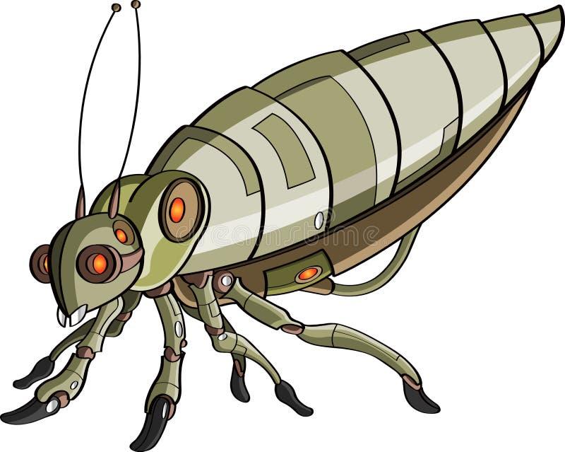 Het robotachtige insect van het beeldverhaal stock illustratie